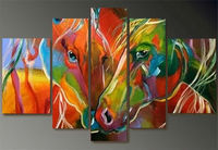 Free shipping 5 panels Modern Art Picture abstract colorful horse on Canvas oil painting 100% handmade