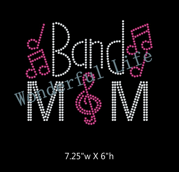 US $44 0 60% OFF|Free shipping Band Mom with Music Notes DIY Iron On  Rhinestone Transfer hot fix BLING 2 color-in Rhinestones from Home & Garden  on