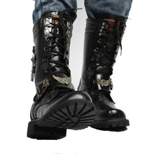 Men's boots winter long tube high help Martin boots straps British fashion men's boots large size.