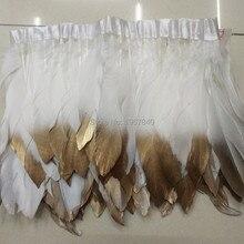 86cbe4e5335f Blanco y Oro plumas de ganso recorte 2 yardas mancha manchada ganso cinta  15 ~ 18 cm pluma de pato danza decoración de DIY