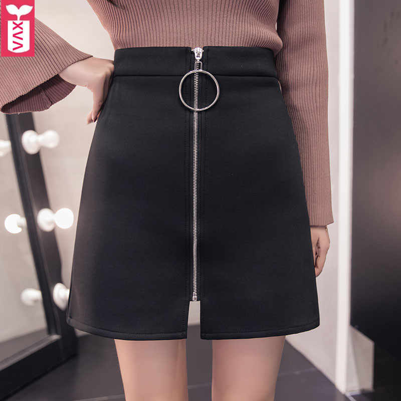 Korea 2018 Brand Zipper Metal Ring Ladys A-Line Black Space Cotton Skirts Womens High Waist Office Formal MiniSkirts XXL