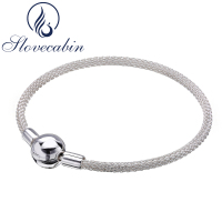 Slovecabin Original 925 Sterling Silver Moment Mesh Bracelets Bangles For Women Luxury Brand Silver 925 Jewelry