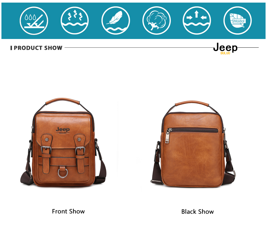 JEEP BULUO Multi-function Men Handbags New Man's Crossbody Shoulder Bag Large Capacity Leather Messenger Bag For Man Travel Cool 14