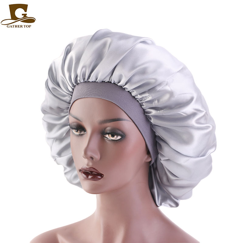 Extra Large Print Satin Silky Bonnet Sleep Cap with Premium Elastic Band For Women Solid Color Head Wrap