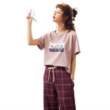 새로운 도착 여름 잠옷 여성 니트 코튼 만화 잠옷 세트 짧은 소매 오 넥 귀여운 소프트 빅 사이즈 M XXL 피자 마 Mujer