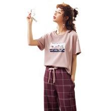 Yeni varış yaz Pijama kadın örme pamuk karikatür Pijama seti kısa kollu o boyun sevimli yumuşak büyük boy M XXL Pijama Mujer