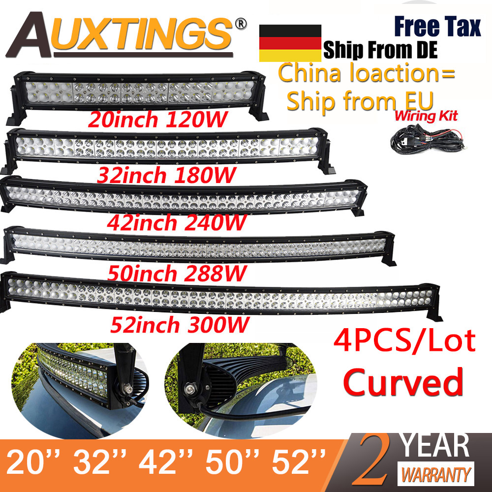 Auxtings Wholesale 4X 21 32 42 50 52'' Inch Curved Led Light Bar 240W 300W Dual Row Driving Offroad Car Truck 4x4 SUV ATV 12V