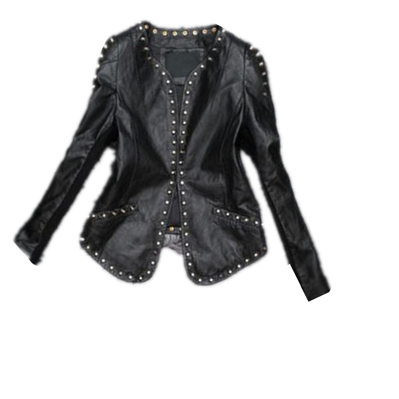 ebc779ef3b 2018 New Top Quality fashion Women PU Leather blazers Jackets Rivet  decoration suit blazer Women's Black Outerwear F3871