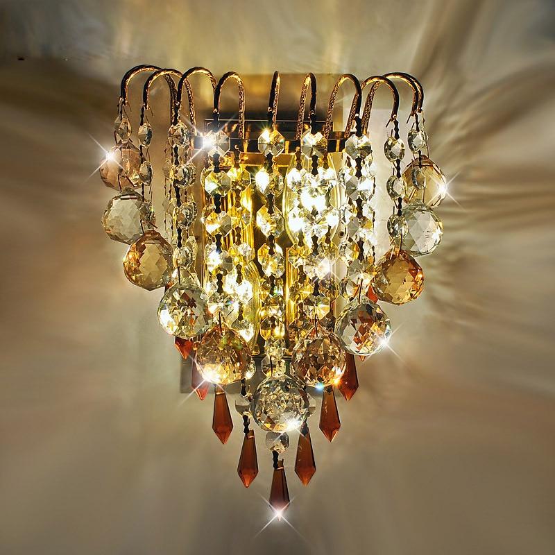 Modern Crystal haning Golden Bedsides Wall Lights Creative Bedroom Corridor Wall Lamp Mirror Front Wall Sconces цена