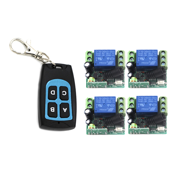 DC12V 1CH RF wireless power remote trigger 315mhz 433mhz remote switch 12v 10a latching relay 1 Transmitters + 4 Receivers 4255