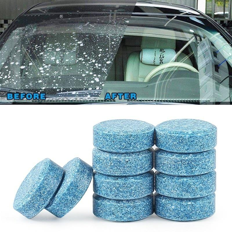 10pcs/set Car Vehicles Windshield Solid Soap Piece Window Glass Washing Cleaning Effervescent Tablets