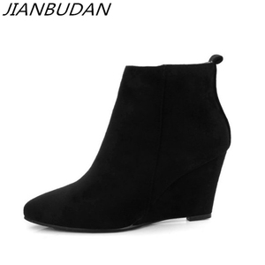 Image 2 - JIANBUDAN Artificial suede womens autumn casual boots 2020 New Flat heel wedge Concise bare boots Side zipper ankle boots 34 43