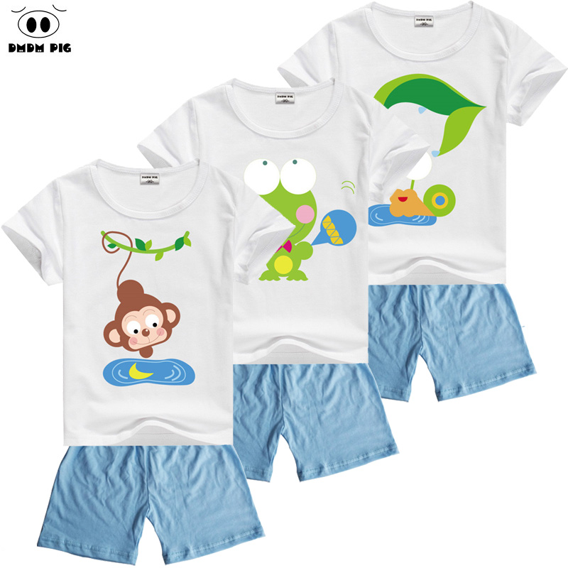 DMDM PIG 2017 Summer Kids Clothing Sets Baby Boys Cotton Short Sleeve T-Shirts + Pants Children Sport Suits Girls Clothes Sets