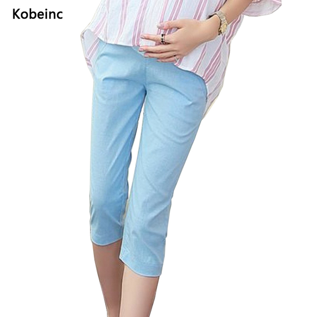 Linen Cropped Pants For Pregnant Women Care Belly Candy Color Maternity Trousers 2017 Summer Plus Size Capri Pants M-4XL