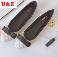 Spring Summer 2017 Lovely Patent Leather Satin Bow Flats Shoes Block Heels Black Navy Blue Golden