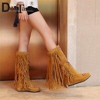 DORATASIA 2019 Autumn Winter 34 48 Hot Sale Bohemia Fringe Knee High Boots Women Fashion Embroider Casual Women Shoes Woman
