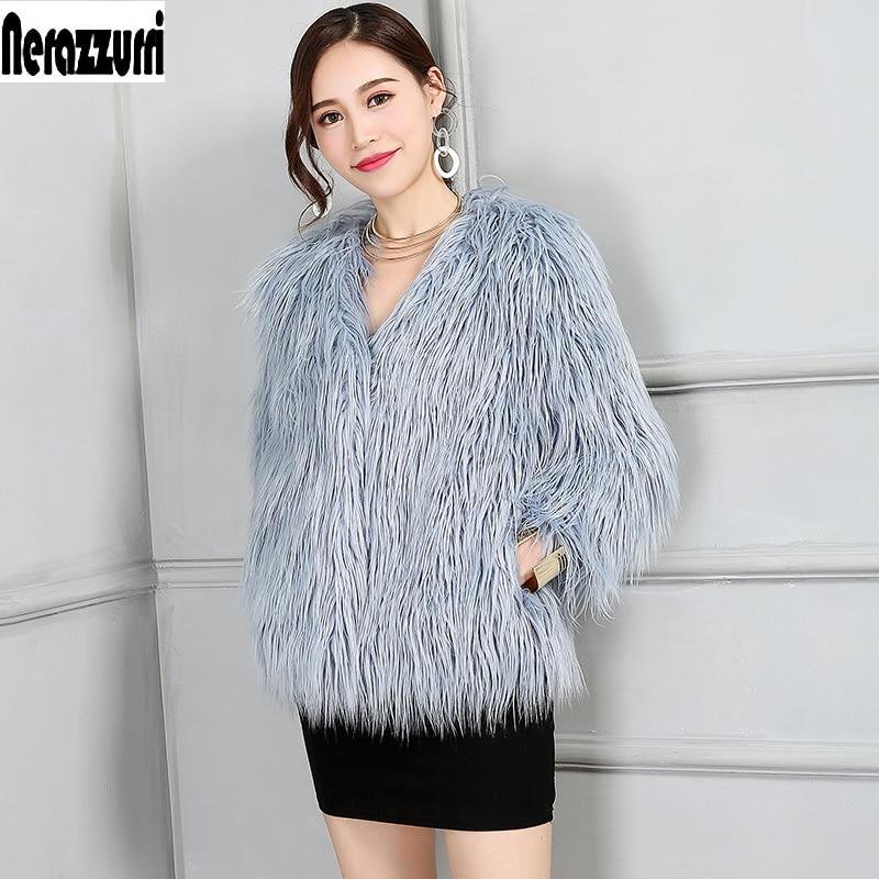 7e9e612401d Detail Feedback Questions about Nerazzurri Faux Fur Jacket Women V Neck  Short Shaggy Fulffy Furry Colored hairy thicken fake Fur Coat Plus Size  Outwear 6XL ...