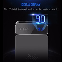 Wireless Charger Power Bank 8000mah with Digital Display 5V 2A 5W External Battery Powerbank for iphone X Samsung Xiaomi