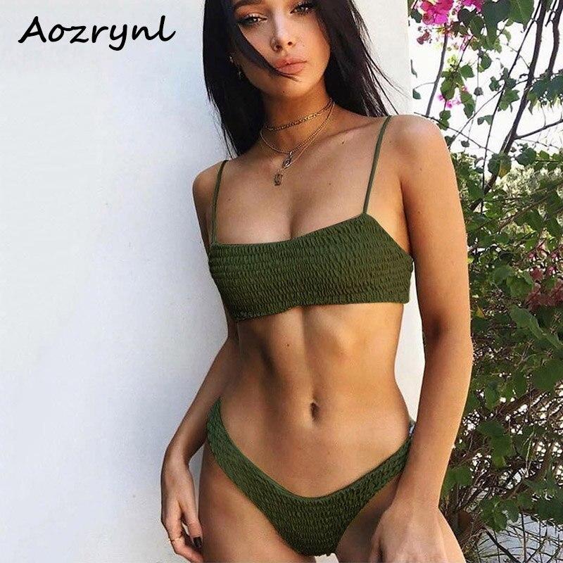 AOZRYNL 2018 Sexy Bikini Set Women Swimsuit Female Swimwear Solid Bikinis Brazilian Thong Swimming Suits High Cut Bathing Suit