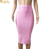 2017 Nowy Kobiety Sexy Rayon Bandaż Spódnica Jednolity Kolor Czarny biały Różowy Khaki Dobra Elastyczna Stretch Kolan Lato Spódnice HL688