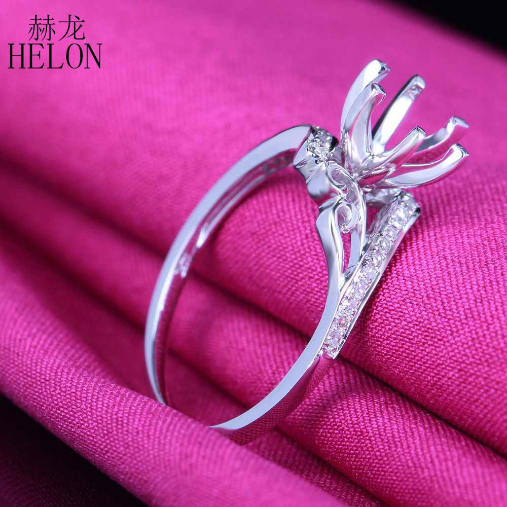 HELON Solid 14k White Gold 6mm Round Semi Mount Pave Natural ...