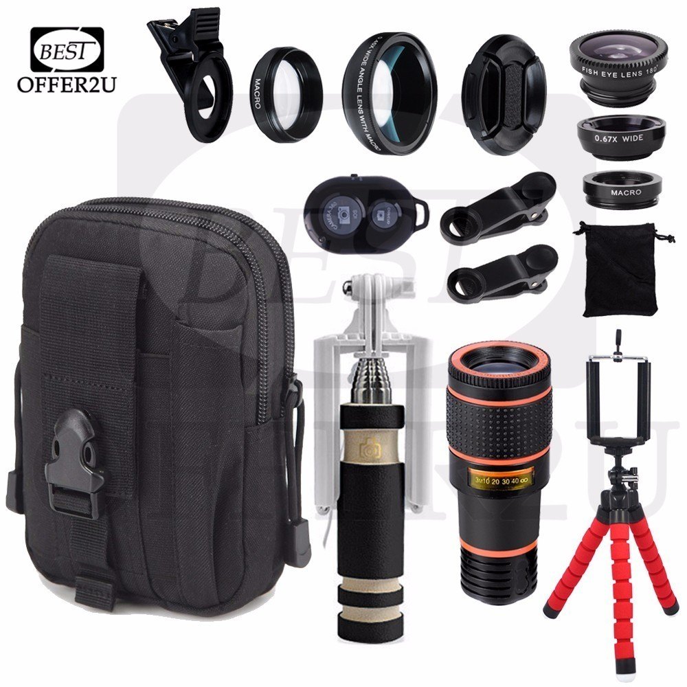 0.45X Wide Angle 12.5X Macro Lens 12X Telephoto Zoom Lentes Flexible Tripod Holder Fisheye Lents Military Tactical Sport Bag Set