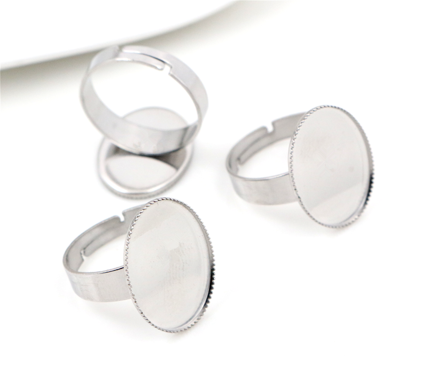 13x18mm 10pcs/Lot No Fade Stainless Steel Adjustable Ring Settings Blank/Base,Fit 13x18mm Glass Cabochons-T1-23
