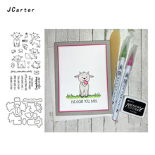 JC Metal Cutting Dies and Rubber Stamps for Scrapbooking Craft Goat Letters Animal Cut Stencil Card Make Album Sheet Decor