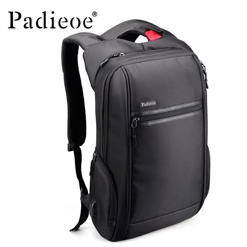 Padieoe 2018 מעצב חדש גברים אופנה בד תרמיל מחשב נייד נסיעות כרטיס טעינת באיכות גבוהה אופנתי זכר תרמיל Daypack