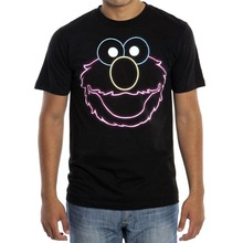 Printed T Shirt Funny Tee Shirts Crew Neck Men Sesame Street Elmo Face Neon Regular Short Sleeve
