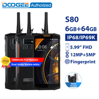 DOOGEE S80 IP68 / IP69K walkie talkie smartphone wireless charge NFC 10080mAh 5.99'' Helio P23 Octa Core 6GB 64GB rugged phone