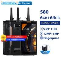 DOOGEE S80 IP68 / IP69K walkie talkie smartphone wireless charge NFC 10080mAh 5.99'' Helio P23 Octa Core 6GB 64GB rugged phone