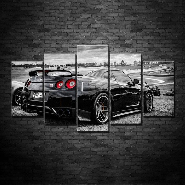 Modular Cheap Pictures 5 Panel Black Car Modern Frames For Painting ...