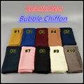 H89 colorido bolha pérola chiffon xale cachecol hijab 180*75 cm 10 pcs 1 lote, pode escolher as cores