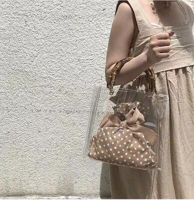 Luxury Designer Bamboo Tote Bag Women Transparent Bag Clear PVC Jelly Female Messenger Crossbody Shoulder Handbag Lady Sac Femme