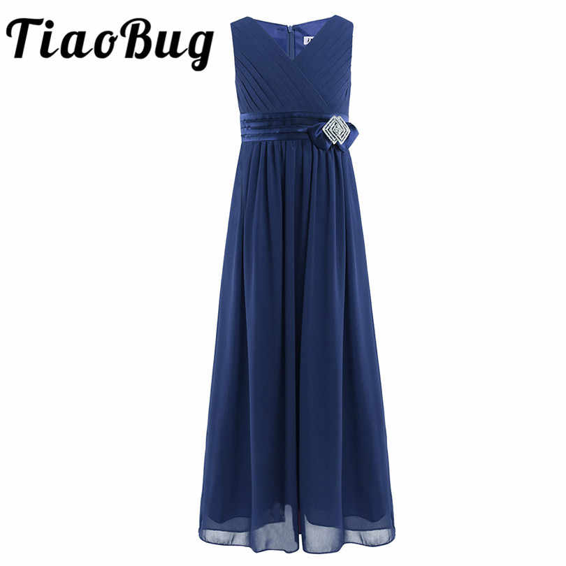 9de7132f64e3c Tiaobug Lovely Little Girls Navy Blue Flower Girls Dresses for Weddings  Ball Gown Communion Pageant Dress Wedding Party Gowns