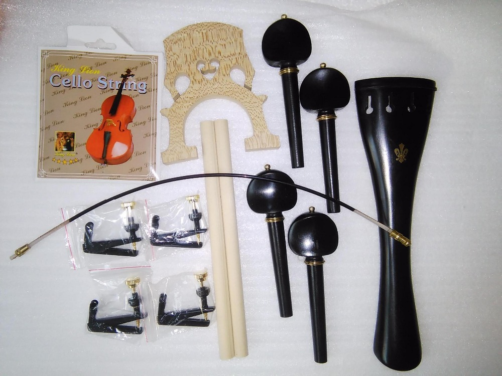 Ebony Cello Parts with Brass Decoration+Cello String adjuster+Nylon tail gut+sound post+cello bridge etc all 4/4 3 pcs brass cello tools cello sound post setter retriever gauge luthier tool
