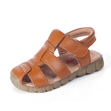 Children Summer Solid Sandals Baby Boys Girls Soft Leather Flat Heels for Breathable Hook & Loop Fashion Shoes