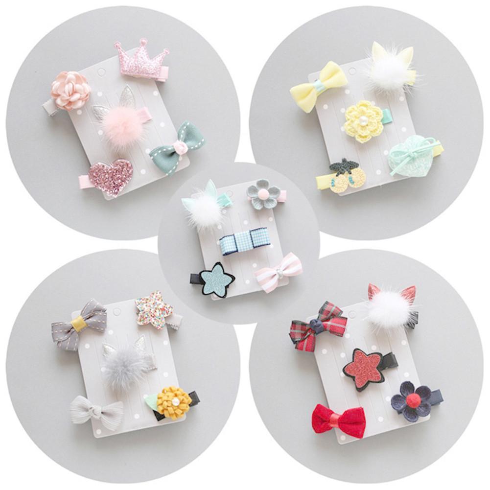 Cute Baby Girls Cartoon Pompom Hair Clip Hairpin Toddler Kids Children Hair Accessories Lovely Bowknot   Headwear   Hair Hoop Set