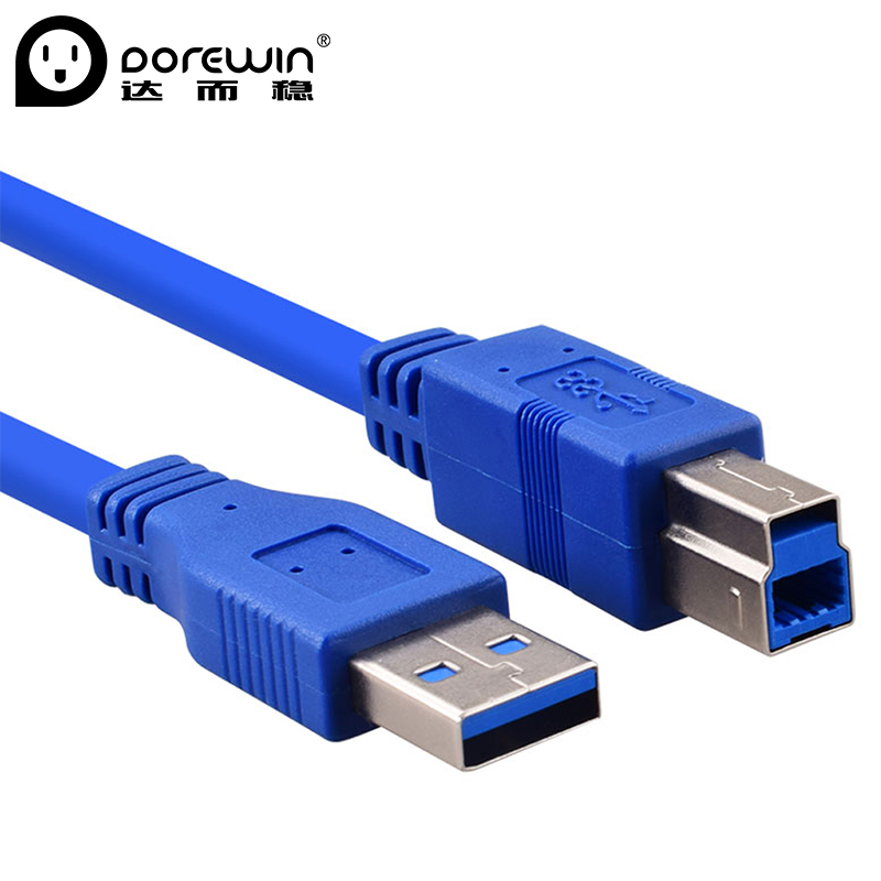 Dorewin USB 3.0 Scanner Printer Cable Sync Data Charger Cable High Speed Type A to B Male Male with PVC Material for Copier Blue l1000 portable hd 10mp 3672x2856 usb camera photo image document book a3 a4 scanner visual presenter high speed ocr scanner a3