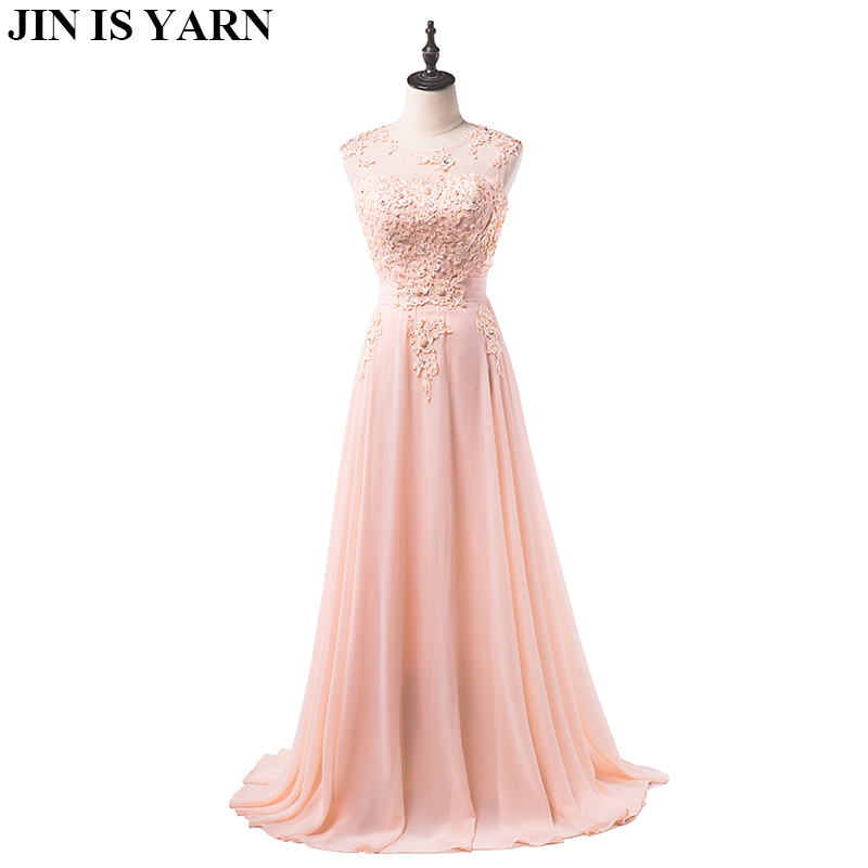 floor length formal evening dress gown 2015 new Elegant pink A-line lace chiffon maxi long dress women weddings prom party dress(China)