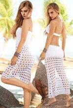 Women Beach Dress Floatsuit Mesh Hollow Crochet Lace Dress Women Beachwear Beige Sun-proof Blouse