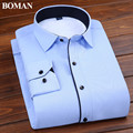 Brand Qiu winter fashion plus thick velvet long-sleeved shirt business career young men tooling solid blue thermal shirt