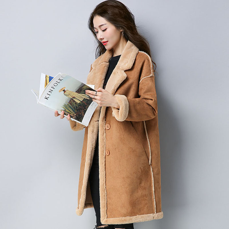 2017 Winter   suede     leather   coat Women Long   Suede   Jacket Lapel Warm Coats female Lamb Wool Motorcycle Parka warm outerwear QH0984
