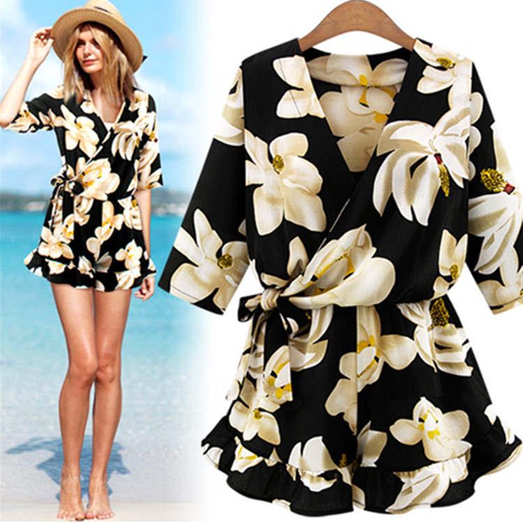 New Large Size Women's Chiffon Print V Neck Middle Sleeve Jumpsuit Fashion Trousers Skirt Loose Shorts Rompers Womens Jumpsuit