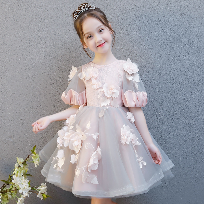 Princess Girls Ball Gown Dress Birthday Party Wedding Banquet Kids Girls Clothing Flower Child Girl Costume Luxury Dresses S239 party girl dress 2017 new kids girls trailing dress with bow knot child birthday surprises girls wedding princess costume 2 12t