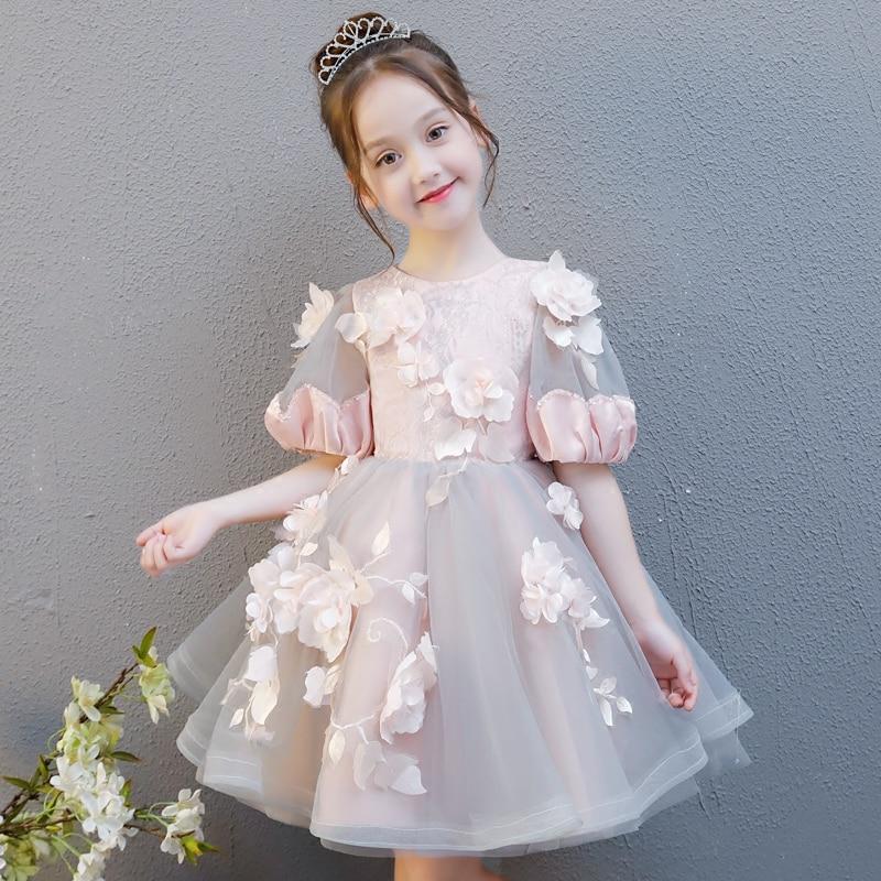 Princess Girls Ball Gown Dress Birthday Party Wedding Banquet Kids Girls Clothing Flower Child Girl Costume Luxury Dresses S239