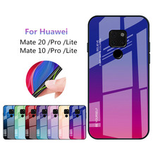 Mate 10 case For Huawei 20 Pro Case Luxury Colorful Gradient Tempered Glass Protective Back Cover for huawei mate 20pro