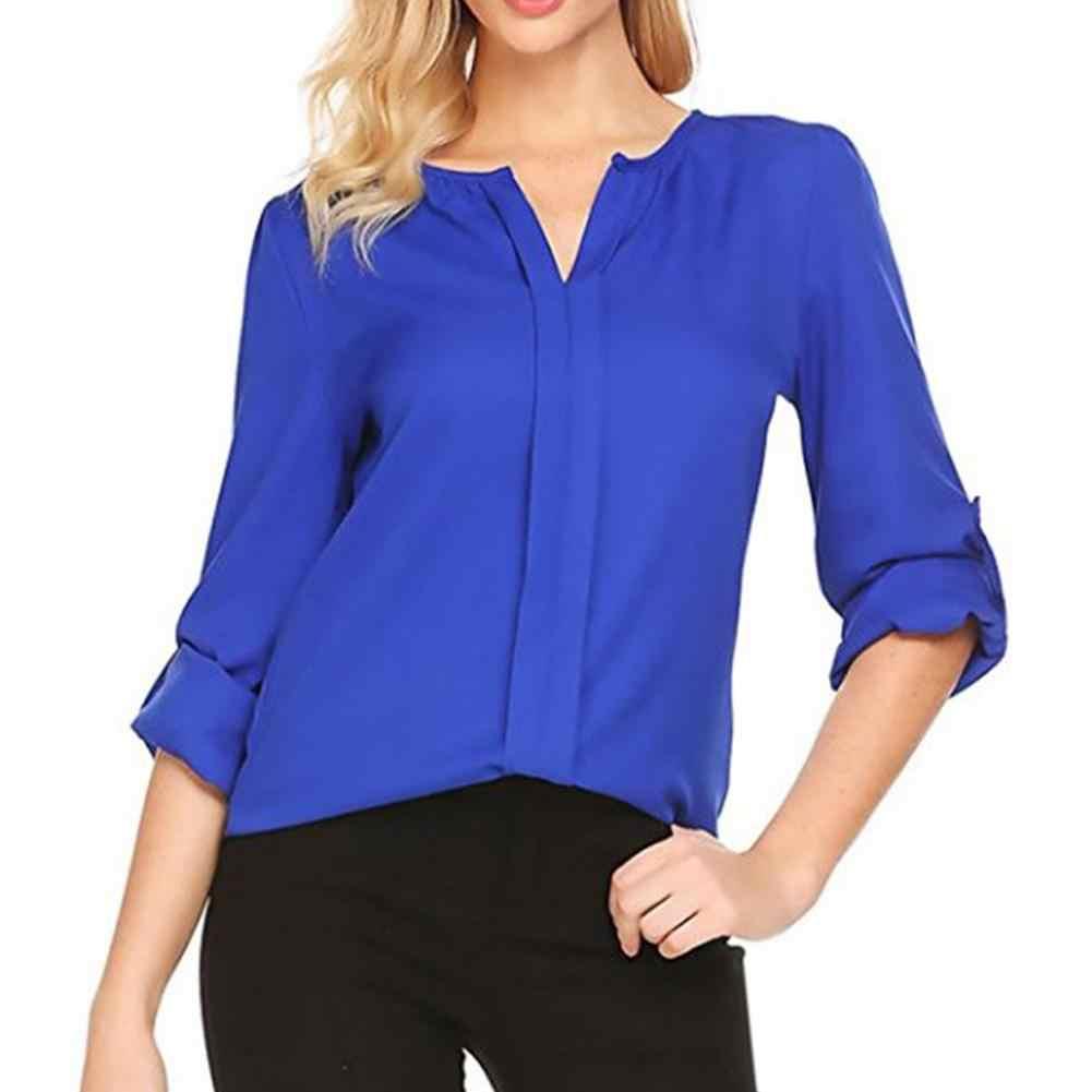 4a34cc18eb4 Women Chic V Neck Long Sleeve Solid Color Loose Chiffon Shirt Casual Blouse  Top new plus