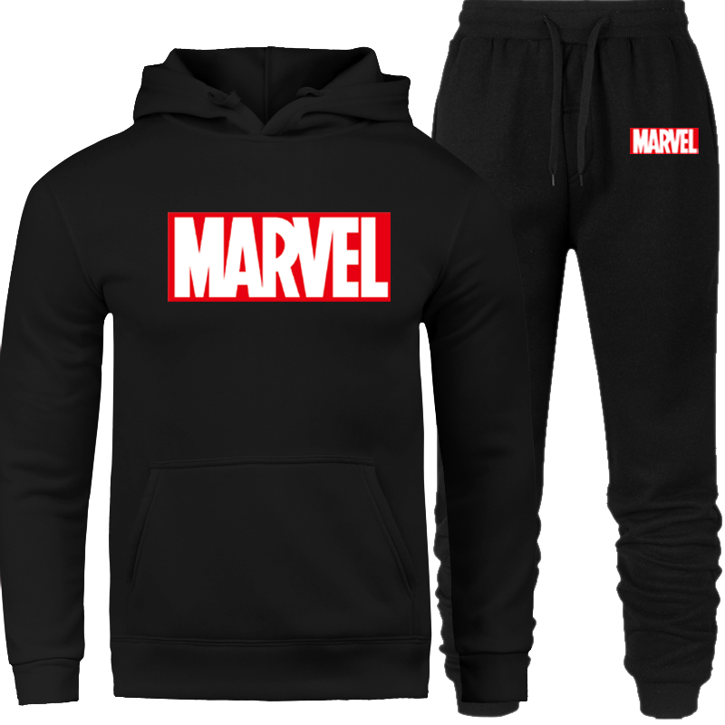 2019 Men Tracksuit Set Winter Fleece Hood Print Marvel Jacket+Pants Sweatshirts Male 2 Piece Set Hoodies Sporting Suit Coat